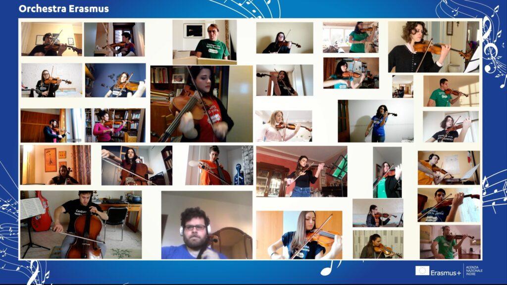 Musicisti dell'Orchestra Erasmus suonano a distanza