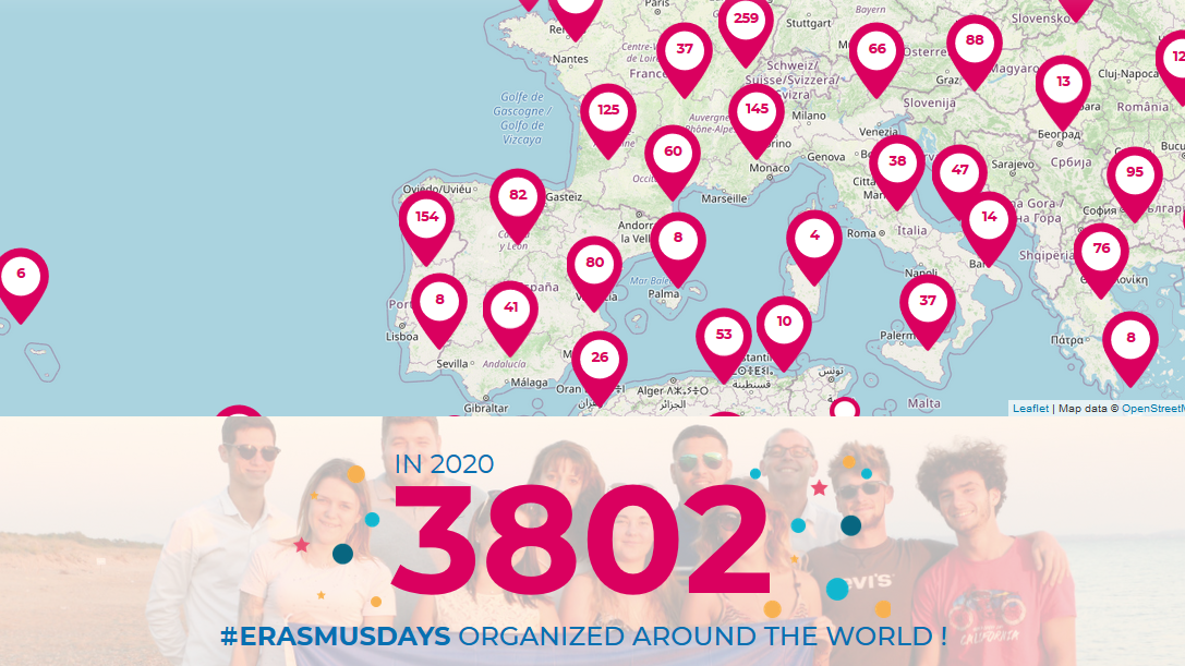 Mappa eurpea degli Erasmusdays con 3.802 eventi segnalati