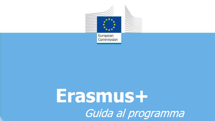 Copertina della Guida al Programma Erasmus+2021 con logo della Commissione europea